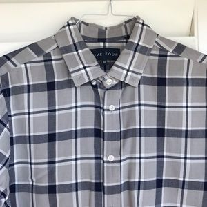 Five Four Shirts - NWOT FIVE FOUR Grey navy white plaid button down